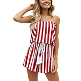 vermers Clearance Deals Women Rompers and Jumpsuits - Summer Stripe Printing Off Shoulder Sleeveless Playsuit(L, Red)