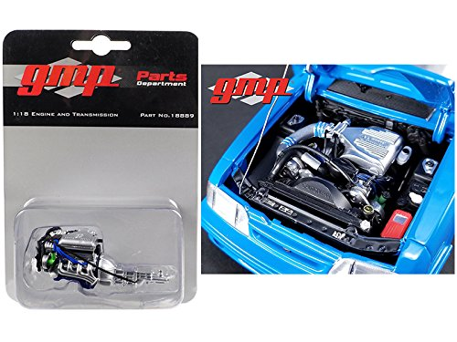 StarSun Depot Drag Engine and Transmission Replica Supercharged 302 5.0L from 1993 Ford Mustang Cobra 1320 Drag Kings King Snake 1/18 by -