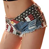 Women's Low-Rise American Flag Print Daisy Duke Ripped Denim Shorts,S