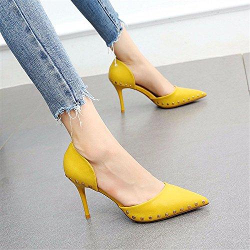 Altos Moda YMFIE Tacones Zapatos de en Remache B B Remache Temperamento Aire 5f029a