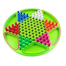 2-in-1 Wood Chinese Checker Table Top Game for Kids GREEN