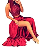 EnjoyDress Women's Long Crystals High Neck Prom Dresses Party Gowns Two Pieces Front Slit Red 2