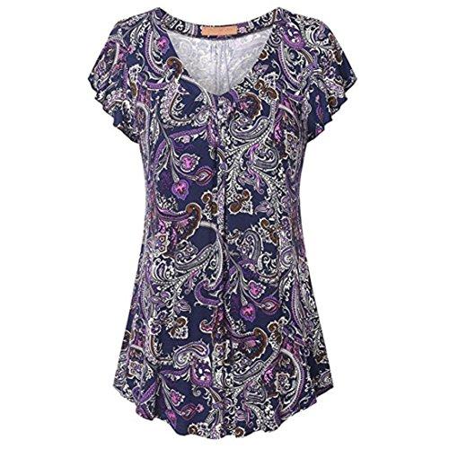 HimTak Ladies V-Neck Large Size Printed Short Sleeve Shirt, Women Print Pleated Short Sleeve Top Tunic Blouse Shirt (S, PP) (Skirt Gathered Print)
