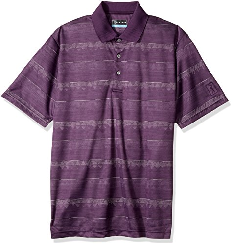 (PGA TOUR Men's Short Sleeve Printed Polo Shirt, Space Dye Argyle Purple Pennant,)