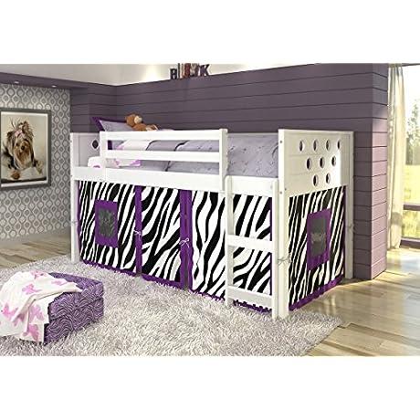 DONCO KIDS Circle Low Loft With Zebra Tent Twin