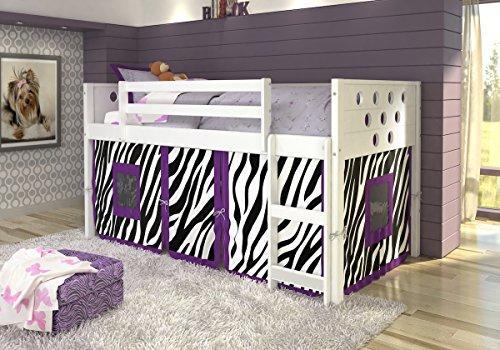 DONCO KIDS Circle Low Loft with Zebra Tent , Twin by Donco Kids