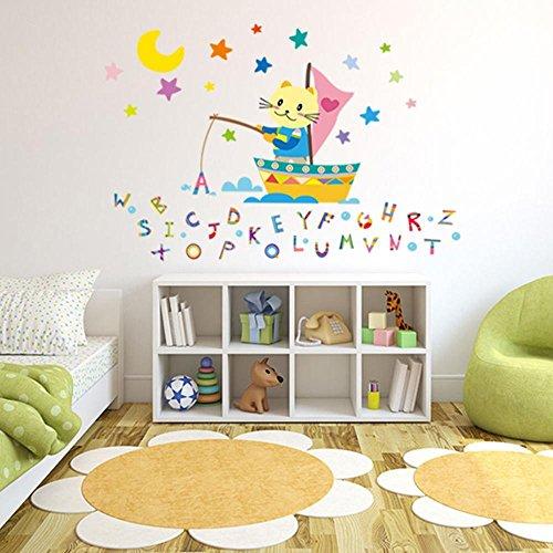 Mkxiaowei Pegatinas de pared de habitacin infantil temprana enseanza decoracin alfabeto pegatinas de dibujos animados