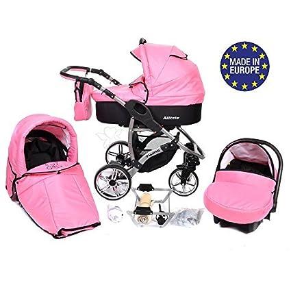 Allivio - Sistema de viaje 3 en 1, silla de paseo, carrito con capazo y silla de coche, RUEDAS GIRATORIAS y accesorios (Sistema de viaje 3 en 1, rosa)