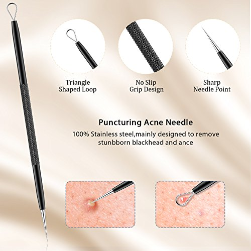 BESTOPE Upgraded 6-in-1 Professional Stainless Blackhead Remover Tweezer  Kit with Metal Case for Pimple,Comedone,Whitehead and Blemish