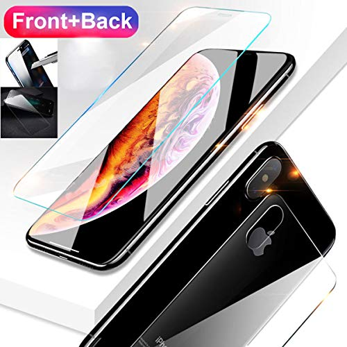Casa iPhone Xs Max 6.5 Screen Protector, Xs Max [Front & Back Glass Film Suit] Tempered Glass Anti-Fingerprint Case Anti-Scrath 3D HD Clear Glass Screen Film for Apple iPhone Xs Max 6.5 2018