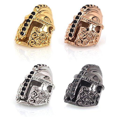 (SouthBeat CZ Pave Bead Knight Helmet Bead 15x11mm Black Cubic Zirconia Pave Bracelet Bead Charm (10PCS, MixColor))