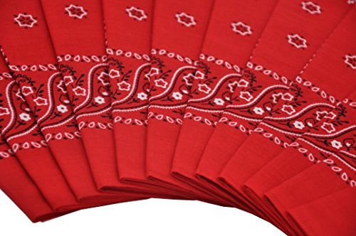 T&Z 100% Cotton 12 Pack Fine Bandanas Professional Factory Manufactured (Red) by T&Z (Image #2)