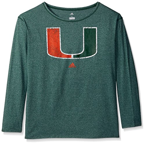 adidas NCAA Miami Hurricanes Womens Her Full Color Primary Logo L/s Crew Teeher Full Color Primary Logo L/s Crew Tee, Gold, Medium