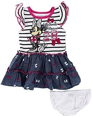 Baby Girls' Minnie Mouse Screenprint Chambray Dress