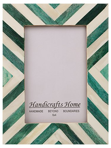 (Picture Frames Photo Frame Chevron Herringbone Vintage Wooden Handmade Naturals Bone Classic Size 4x6 Inch (Green))