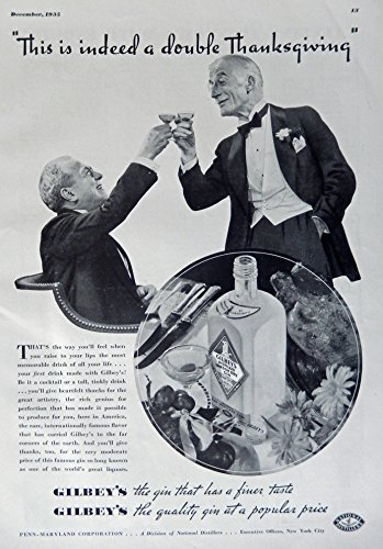 Gilbey's Gin, 1935 Print Ad. B&W Illustration (This is indeed a double Thanksgiving) authentic original vintage 1935 Esquire Magazine ()