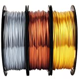 Shiny Silk Gold Silver Copper PLA Filament Bundle, 1.75mm 3D Printer Filament, Each Spool 0.5kg, 3 Spools Pack, with One 3D Printer Remove Tool MIKA3D