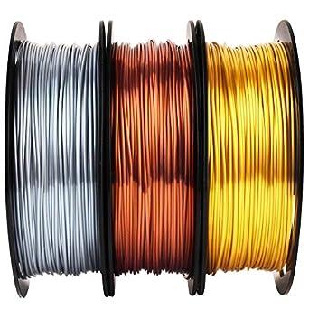Filamento de cobre brillante de seda dorada y plateada, 1,75 mm ...