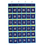 Numbered Classroom Pocket Chart for Cell Phones and Calculator Holder,Wall Door Hanging Storage Organizer 36 Pockets (Blue)