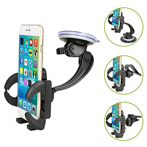 Smartphone Car Mount Holder, iKross 4-in-1 Universal Windshield / Dashboard / Sun Visor / Air Vent Car Mount Cradle Holder Kit - Black (Motorola Droid Turbo Car Kit compare prices)