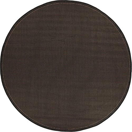 Couristan Black Saddle Stitch - Couristan 1001/2000 Recife Saddle Stitch/Black-Cocoa 8-Feet 6-Inch Round Rug