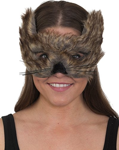 (Adult's Cute Furry Brown Timberland Wolf Animal Mask Costume)