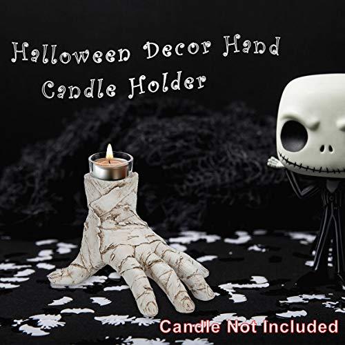 Ichibann Halloween Decoration Mummy Hand Tealight Holder 5in/H Spooky Halloween Decorative Figurine Desk Decor Detailed Scary Bandaged Wrapped Hand Style Tea-Candle Holder (Hands Mummy)
