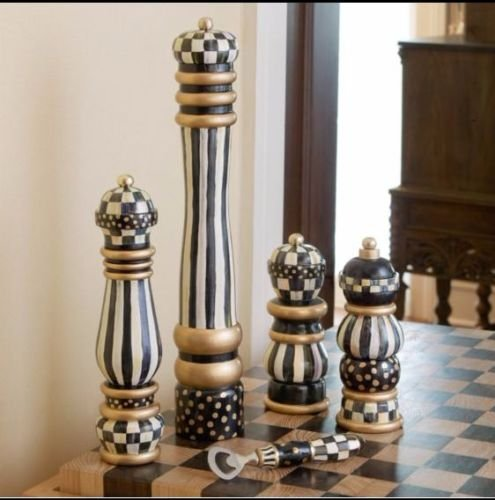 Mackenzie Childs COURTLY CHECK Brand New Wood HAND PAINTED 16'' PEPPER MILL by MacKenzie-Childs