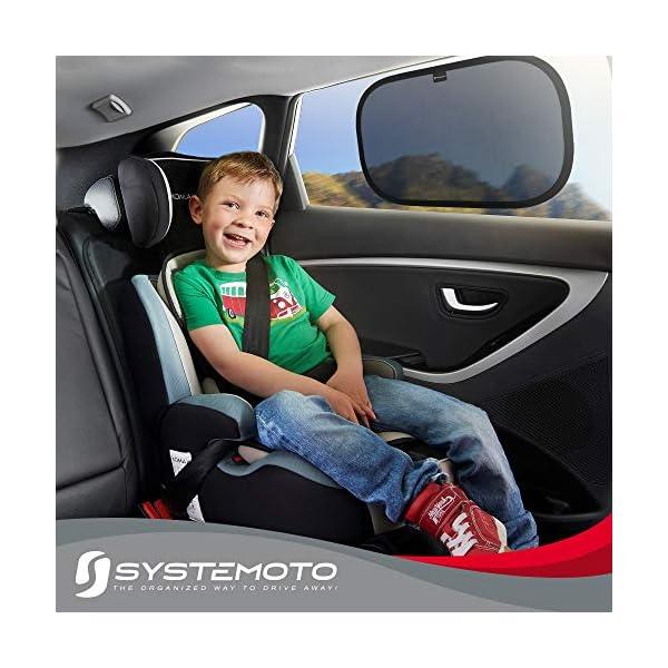 51JlRRiXsPL Systemoto Autositz Organizer + Sonnenschutz Auto Baby mit UV Schutz (2er Set) - Kinder Rückenlehnentasche und…