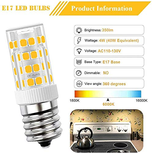 OHLGT E17 Led Bulb for Microwave Oven Appliance, 4W Under Microwave Light Bulb(40W Incandescent Equivalent)Warm White 3000K, 350LM, Pack of 2