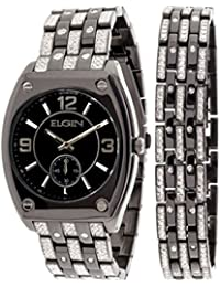 ELGIN MENS BLACK TONE WATCH WITH BRACELET AND SUB DIAL FGC9752