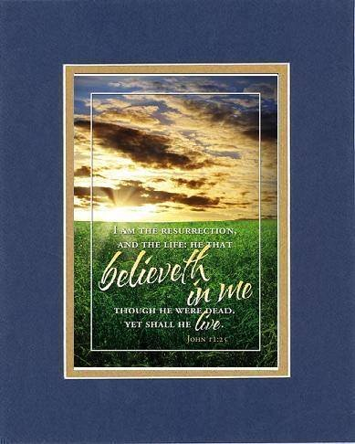 Believeth in Me 8 x 10 Inches Biblical/Religious Verses set in Double Beveled Matting (Blue On Gold) - A Timeless and Priceless Poetry Keepsake Collection