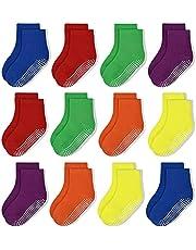 Toddler Socks Grip Non Slip 12 Pairs Baby Boy/Girl High Ankle Sticky Floor Socks For 1-3/3-5/5-7/7-10T Boy Kids