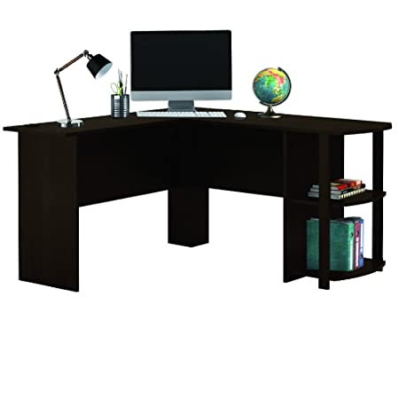 LIVIVO ® Large Stylish L Shaped Wooden Corner Office Desk With Book Shelves,  Large Top