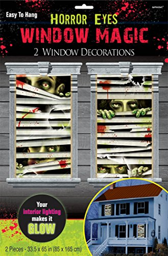 Horror Eyes Window Magic Halloween Trick or Treat Party Decoration, Plastic, 33