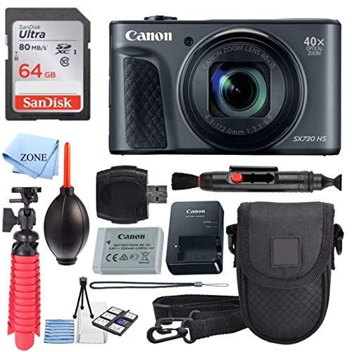 Canon PowerShot SX730 HS Digital Camera (Black) + 64GB Memory Card + Point & Shoot Case + Flexible Tripod + USB Card Reader + Lens Cleaning Pen + Cleaning Kit + Accessory Bundle