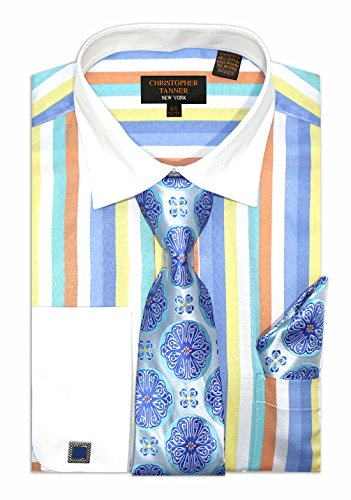 (Christopher Tanner Men's Regular Fit Dress Shirts with Tie & Hankerchief Cufflinks Combo Striped Pattern Multi Color Color Blue Size 18.5