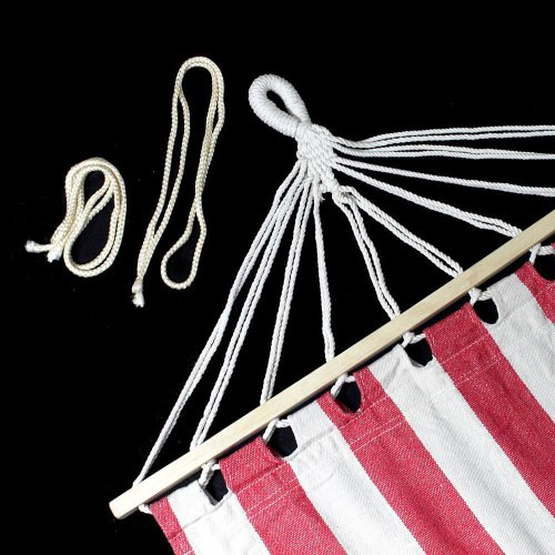 Flexzion Portable Swing Hammock Leisure Hanging Canvas Wooden Single Red and White Stripes 78.78″ x 31.5″ for Outdoor Garden Patio Camping Beach Travel Sleeping Bed