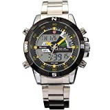 New SHARK Digital Alarm Day Date Stainless Mens Sport Wrist Watch Yellow Dial SH048, Watch Central