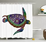 Psychedelic Decor Shower Curtain by Ambesonne, Sea Turtle with Colorful Ornamental Tattoos on Animal Art Work, Fabric Bathroom Decor Set with Hooks, 70 Inches, Purple Orange Pink