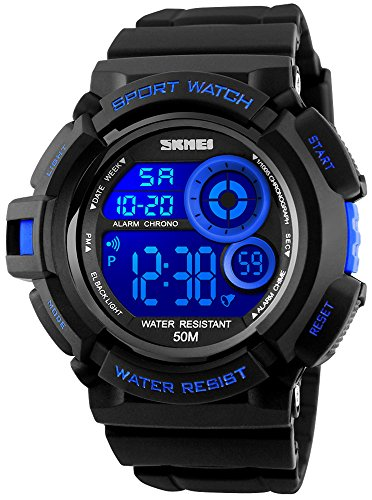 Fanmis Mens Multi Function Alarm Stopwatch 7 Color LED Backlight Digital Watch 50M Waterproof Electronic Sports Watches Blue by Fanmis