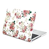 MacBook Pro 13 Retina Case, GMYLE Hard Case Print Frosted for MacBook Pro 13 with Retina display (Model: A1425 and A1502) - White Floral Rose Pattern Rubber Coated Hard Shell Case Cover case (Not fit for Macbook Pro 13 inch A1278)
