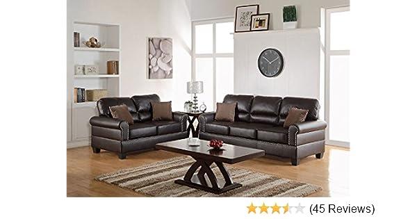 Amazon.com: Poundex F7878 Bobkona Shelton Bonded Leather 2 ...