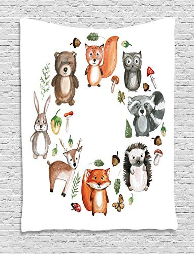 Lunarable Woodland Tapestry by, Animals of the Forest with Mushrooms Acorns Circular Frame Cartoon Pastel Colors, Wall Hanging for Bedroom Living Room Dorm, 60 W X 80 L Inches, Multicolor