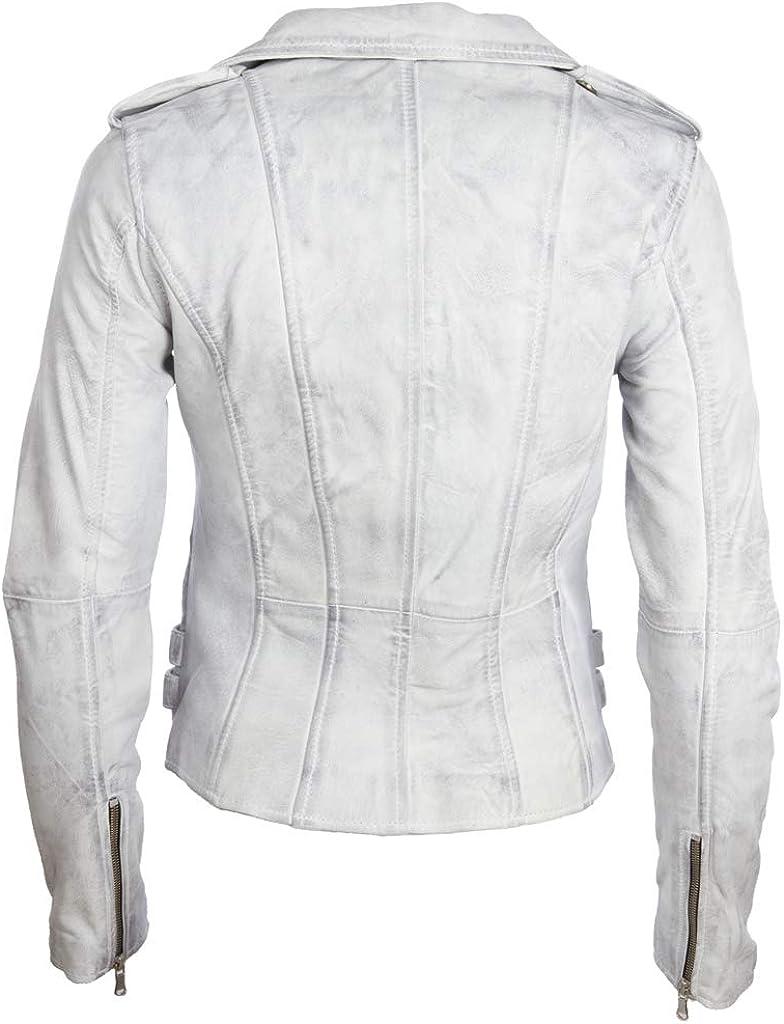 Aviatrix Giacca da Donna Motociclista Vera Pelle Super Morbida Multi Zip Asimmetriche (AGSM) Bianco Sporco