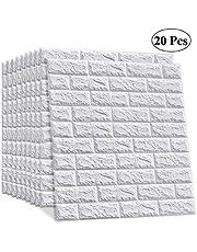20 قطعة من LEISIME - ملصق حائط ثلاثي الأبعاد ذاتي اللصق ومقاوم للماء من PE فوم أبيض لتزيين غرفة المعيشة وديكور المنزل (طوب)