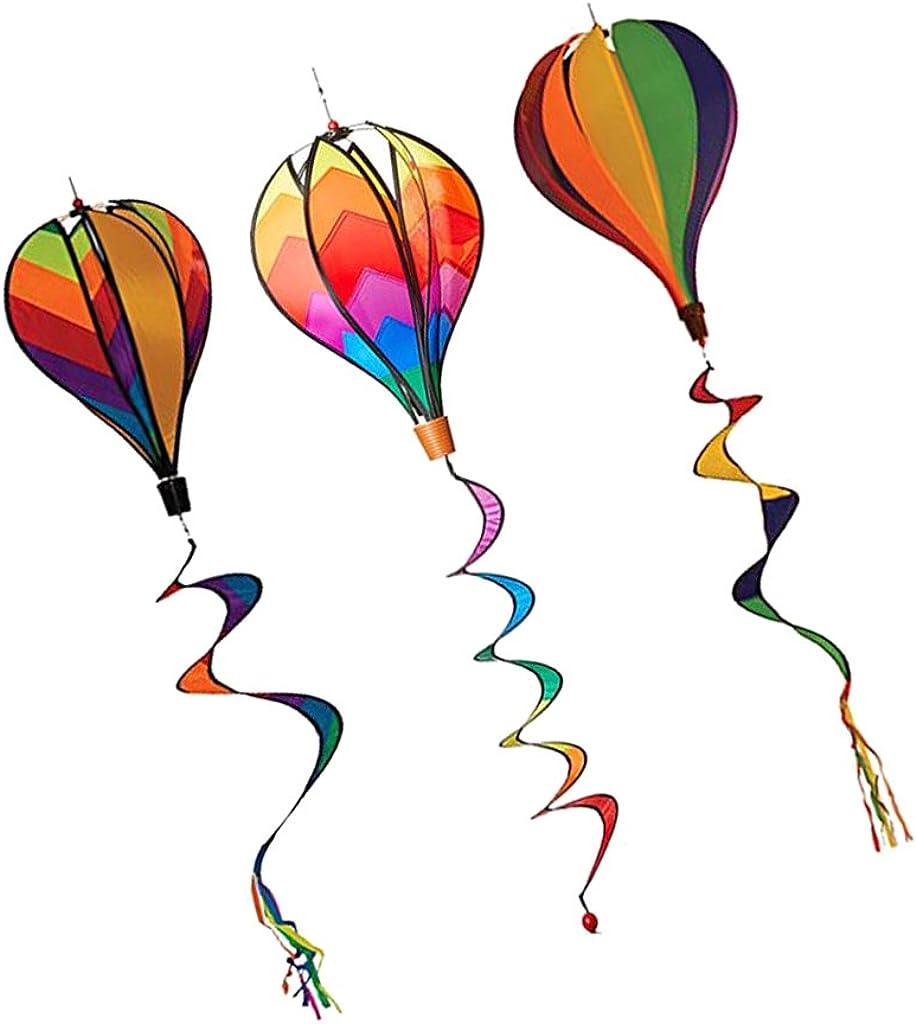 MonkeyJack 3Pcs 55 '' Hot Air Balloons Wind windsocks Spiral Windmill Garden Yard Decor