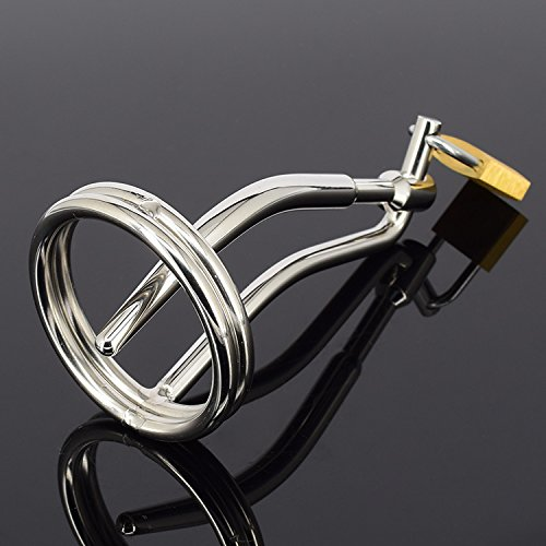 HBBtvc Stainless Steel Male Penis Ring Men's Sounding Catheters with Virginity Lock Adult Sex Toys 2 size (Male Lock)
