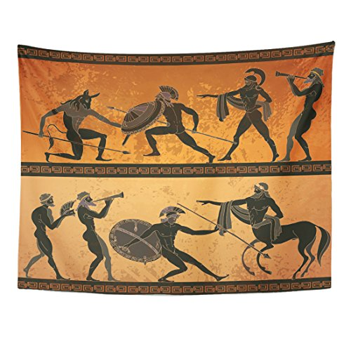 Emvency Tapestry Ancient Greece Black Figure Pottery Hunting for Minotaur Gods Warrior Centaur Classical Greek Style Home Decor Wall Hanging for Living Room Bedroom Dorm 60x80 inches