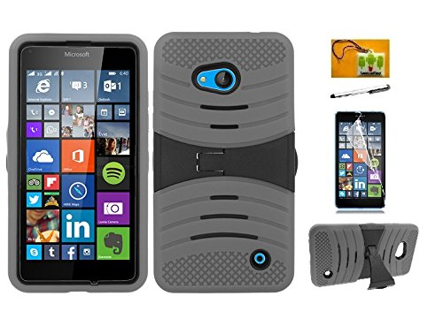 Nokia Lumia 640, LF 4 in 1 Bundle, Hybrid Dual Layer Armor Case with Kickstand, Stylus Pen, Screen Protector & Wiper (Armor Gray)